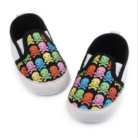 Skull Pattern Fashion Canvas Very Light Casual Soft Soled Loafers Shoe