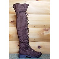Mark & Maddux Brown Nu-Buck Corset Lace Over the Knee Pirate Boot Travis 6-10