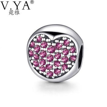 NOVO5 Heart Pattern Crystal Bead fit for Pandora Round Shape Beads for Chain