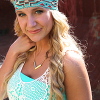 Tribal Girl Headband {Turquoise}