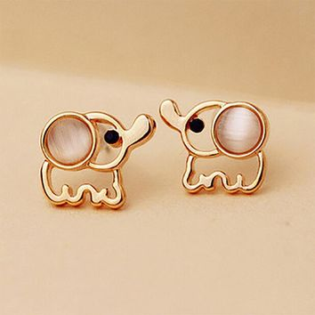 Gold Color Elephant Stud Earrings