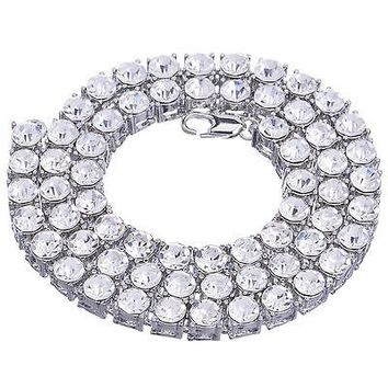 "Jewelry Kay style Men's Luxury Fully Iced Out 8 mm Round Stone Tennis Chain Necklace 24"" S"