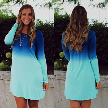 FASHION GRADIENT LONG SLEEVE DRESS