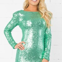 Indie XO Dance All Night Mint Green Metallic Sequin Sparkle Scoop Neck Low Back Long Sleeve Bodycon Mini Dress - Just Ours!