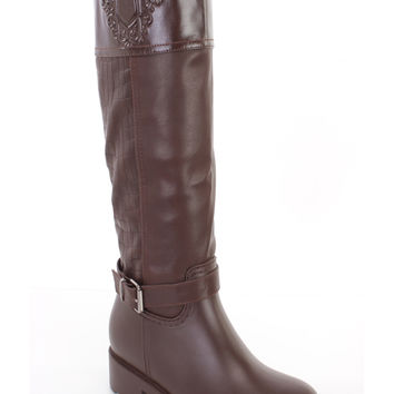 Brown Croc Skin Textured Riding Boots Faux Leather