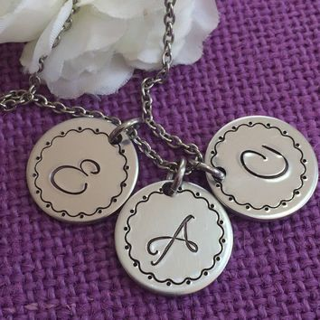 Monogrammed Necklace - Initial necklace - Initial disc necklace - Mom Necklace - Personalized Jewelry - Custom Necklace - Hand stamped