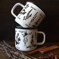 Witch's Herbs enamel mug, camping campfire mug, hygge, cozy, kitchen witch mug, green witch, witchcraft, witchy goth