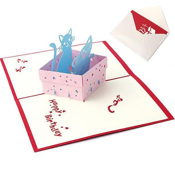 3D Pop Up Greeting Card Handmade Happy Birthday Merry Christmas Card Gift
