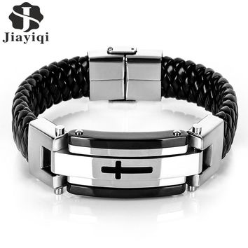 Jiayiqi Punk Cross Stainless Steel Braided Cuff Leather Bracelets Men Woven Bangle For Men Jewelry Christmas Gift