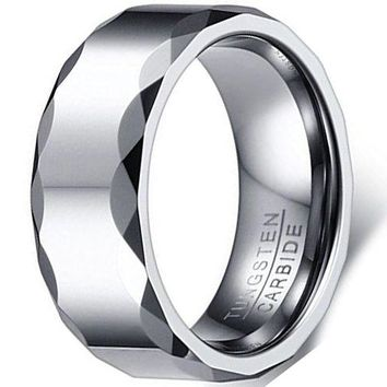 8mm Silver Tungsten Carbide Ring Simple Fashion Wedding Engagement Band Prismatic Edges