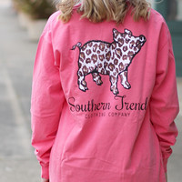Leopard Proud Pig Long Sleeve Tee {Watermelon}