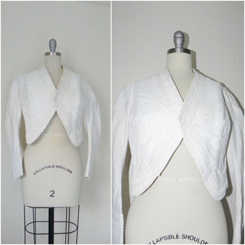 Vintage Edwardian 1900s 1910 White Faille Bolero Cotton Jacket