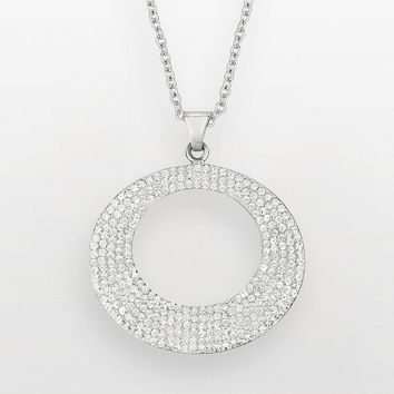 Silver on the Rocks Sterling Silver Crystal Circle Pendant - Made with Swarovski Elements (White)