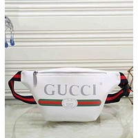 GUCCI Trending Women Men Leather Print Satchel Waist Bag Single Shoulder Bag White
