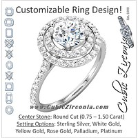 Cubic Zirconia Engagement Ring- The Jillian (0.75-1.5 Carat Round Double-Halo with Pavé Band)