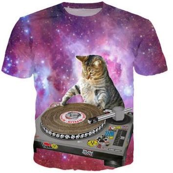 Harajuku women men 3d galaxy print t shirt space white cute cat printed Tshirts Street Cool t-shirts  tops tees rop
