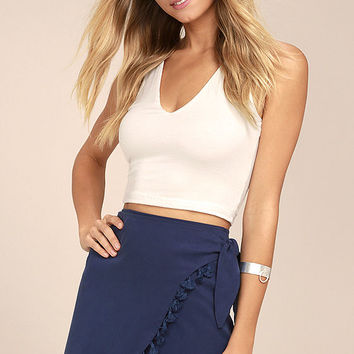 Take it Easy Navy Blue Wrap Mini Skirt