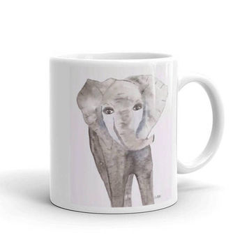 Elephant Coffee cup, Watercolor Coffee Mug, Baby Shower gift, Coffee lover gift, whimsical Nursery Animal, grey and white 11 oz, 15 oz cup