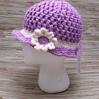 12 month -Crochet Summer Baby Hat- lavender baby hat with brim and flower