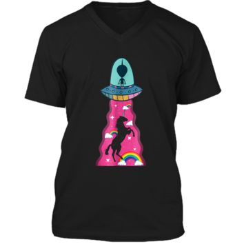 Pink unicorn Alien spaceship abduction Mens Printed V-Neck T