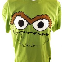 Sesame Street Mens T-Shirt - The Face of Oscar the Grouch on Green (elmo, big bird)