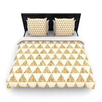"Nika Martinez ""Glitter Triangles in Gold"" Tan Yellow Woven Duvet Cover"