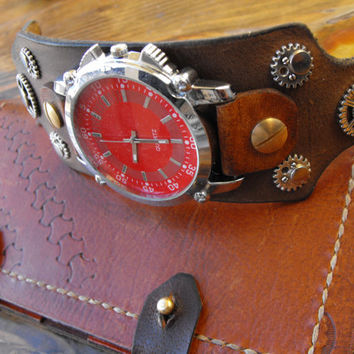 Mens cuff watch, large mens watch, red watch, sreampunk mens watch