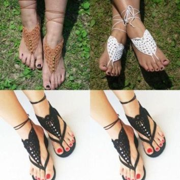 LMFUG3 Crochet Barefoot Sandals Brides Shoes Yoga Beach Wear Anklet Hippy boho chic