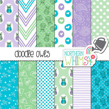 Baby Boy Digital Paper - owl scrapbook papers with hand drawn seamless doodle patterns in aqua, mint, and lavender - commercial use