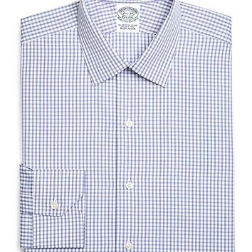 Egyptian Cotton Slim Fit Spread Collar Broadcloth Heathered Check Luxury Dress Shirt - Brooks Brothers