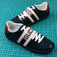 Gucci Black Stripe Leather Sneaker - Best Online Sale