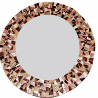 Round Mosaic Mirror, Brown Wall Mirror