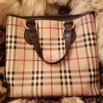 DCCKUG3 Burberry Leather Pvc Tote Bag . Beige .Dark Brown Women's
