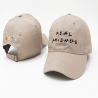 Beige Real Friends Embroidered Unisex Adjustable Cotton Sports Cap Hat