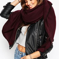 ASOS Plain Oversized Square Scarf With Blanket Stitch