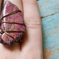Size 7.5 RIng / Stone Statement Ring / Stone Slab Ring / Wire Wrap Ring / Colorful Stone Jewelry / Purple Stone Ring / Stone and Wire Rings
