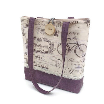 handbag beige, Purple handbag, Paris tote bag, Quilted hand bag, French Chic handbag, Lace shoulder bag, Shoulder purse, Shoulder tote