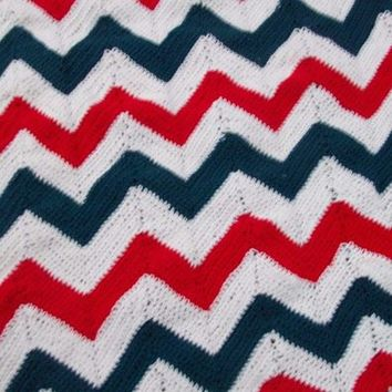 Red white and blue crocheted ripple afghan
