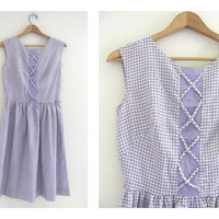 Vintage 1950s purple and white gingham dress / House Day Dress