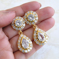 Wedding Jewelry Bridal Earrings Round Teardrop Cubic Zirconia CZ Gold Filled Vintage Inspired Stud Earrings - Cynthia E7G