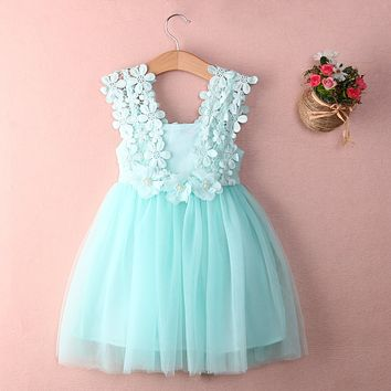 Cute Girl Tutlle Dress Solid Baby Girls Princess Lace Flower Tulle Gown Formal Party Dress Sundress Children Dresses