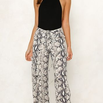Can't Fight It White Snake Print Animal Pattern Tie Waist Tie Ankle Loose Pants