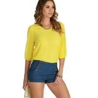 Yellow With A Button Of Top Blouse