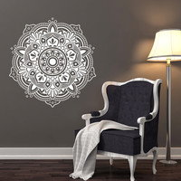 Sale! 10% off! Mandala Wall Decals Bedroom Yoga Sticker Marrocan Pattern Om Symbol Decal Meditation Bohemian Decor T60
