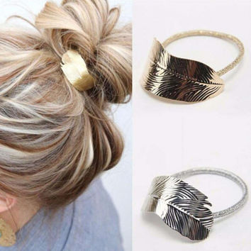 1Pcs New Arrival Hair Rope Ornaments Thin Metal Leaves Rubber Band For Women Elastic Hair Accessories