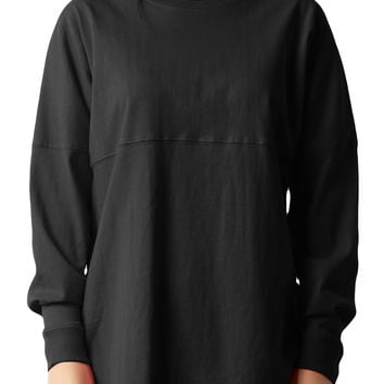 LE3NO PREMIUM Womens Mediumweight Oversized Long Sleeve Active T Shirt (CLEARANCE)