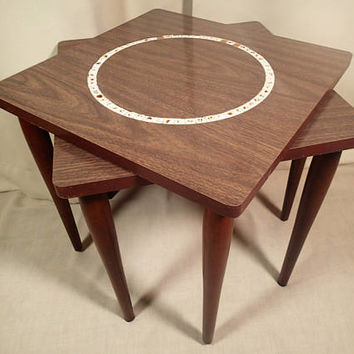 Vintage Mid Century Stacking Tables Wood Grain Formica with Mosaictile ring set in wood grain Formica, tapered wood legs  Set of 2