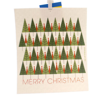 Swedish Dish Cloth MERRY CHRISTMAS ALL NATURAL Premier Kitchen Cloth 21882