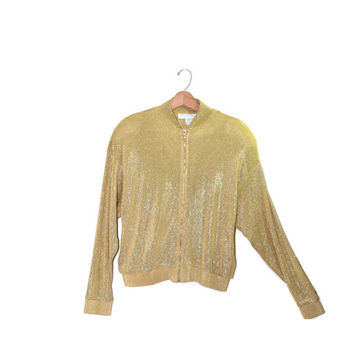 Vintage Bomber Jacket Gold Bomber Jacket Gold Shiny Bomber Jacket 80s Gold Jacket Size Large