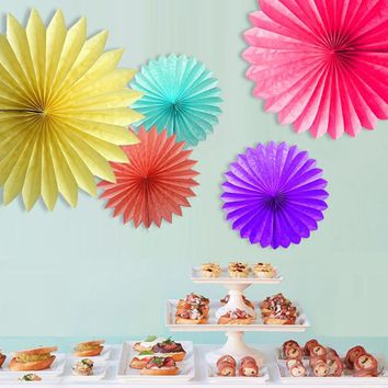 Decorative Wedding Paper Crafts 15/20/25/30CM 1PCS Flower Origami Paper Fan DIY Wedding Birthday Party Decorations Supplies Kids
